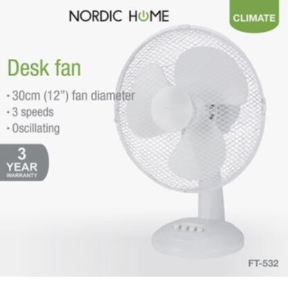 Nordic Home pöytätuuletin 40W valkoinen
