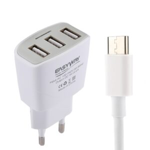 5V/3,4A Laturi 3*USB-porttia+1m USB-C kaapeli