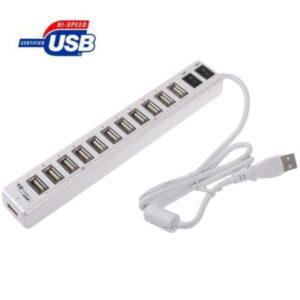 12-porttinen USB 2.0 jakaja kytkimellä valkoinen