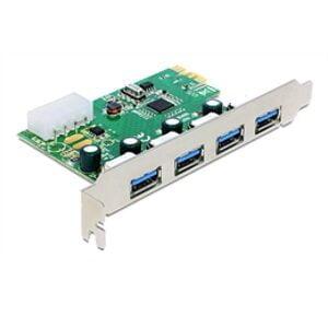 DeLOCK PCI-Express x1 kortti, USB 3.0, 4xType A porttia (5Gbps)
